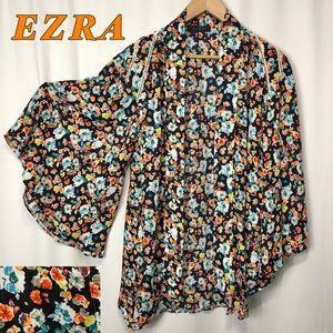 Ezra-Floral Kimono Black orange Blue White M